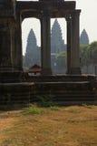 Central gopura towers of Angkor Wat Stock Photos