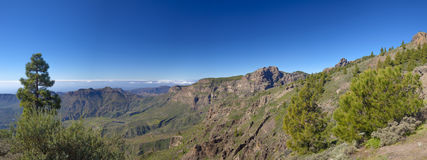 Central Gran Canaria in January. Pozo de Las Nieves - Santa Lucia de Tirajana route, view into Tirajana valley, cliff face Riscos de Tirajana to the right Royalty Free Stock Image
