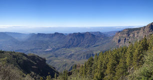 Central Gran Canaria in January. View from Pozo de Las Nieves into Tirajana valley, panorama Stock Photo