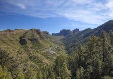 Central Gran Canaria, view towards small settlement Juncal de Te Stock Photo