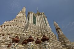 The Central of great pagoda Wat Arun,The temple of dawn royalty free stock image