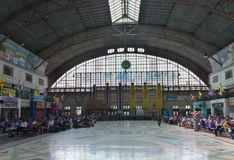 Central hall of Hua Lamphong Railway Station in Bangkok. Stock Photos