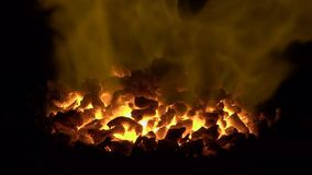 Central heating. The flame on the burner of furnace stock video