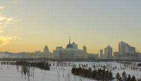 Central heating part of the city of Astana. Is seen the palace of the president and the modern buildings Stock Images