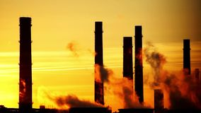 Central heating and power plant on beautiful  sunset background stock video