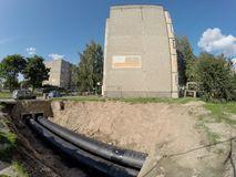 Central heating system renovation works in Kaunas, Lithuania royalty free stock image