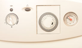 Central heating timer. Closeup of modern central heating timer with water pressure control royalty free stock photos