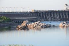 Central hidroeléctrica de Zaporozhye Foto de archivo libre de regalías
