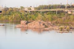 Central hidroeléctrica de Zaporozhye Imágenes de archivo libres de regalías
