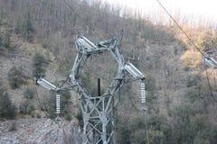 Central hidroeléctrico construida por el hombre para crear la energía limpia y para ahorrarla sistema de la prevención del calent fotografía de archivo