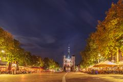 The central historic square in the ancient city center of Devent stock photography