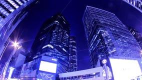 Central. Hong Kong City Night Timelapse. Tätt zooma ut sköt. arkivfilmer