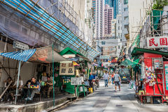 Central Hong Kong de Soho do restaurante da rua dos povos fotografia de stock royalty free