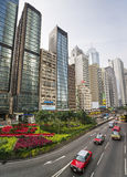 Central Hong Kong highway street traffic and skyline view Stock Photos