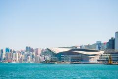 Central Hong Kong - Januari 13, 2018: Hong Kong Convention Fotografering för Bildbyråer