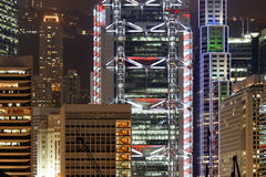 Central, Hong Kong by night. A corner of Hong Kong's business district by night, including HSBC's Hong Kong head office and the Standard Chartered Bank Building royalty free stock photos