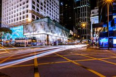 Hong Kong Central Business District at Night with Light Track royalty free stock image
