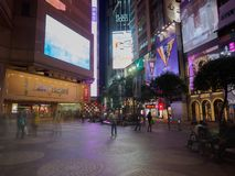 A long exposure shot taken near the Times Square shopping center near Russel street Hong royalty free stock photography