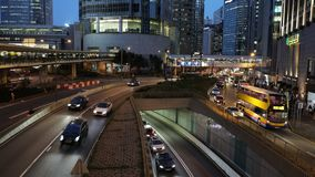 Car traffic at rush hour in central district of Hong Kong stock video