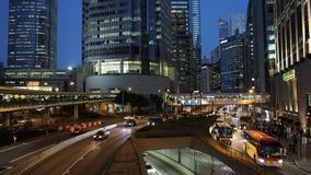 Car traffic at rush hour in central district of Hong Kong stock footage