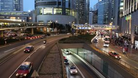 Car traffic at rush hour in central district of Hong Kong stock video footage