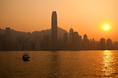 Central Hong Kong by Sunset Stock Images