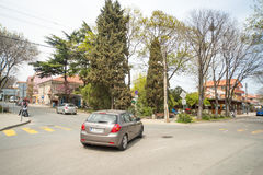 Central intersection in Burgas quarter Sarafovo, Bulgaria. Burgas - the regional center in Bulgaria, a major seaport on the Black Sea. Modern and historic city Royalty Free Stock Photo