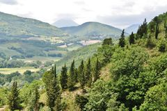 Central italy landscape with hills and vegetation Stock Image