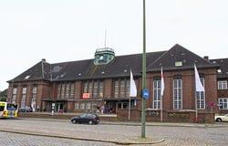 Central järnvägsstation i Flensburg, Tyskland Arkivbild