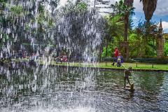 The central lake with waterfall in the Monte Palace Tropical Garden. Funchal, Madeira, Portugal Stock Photography