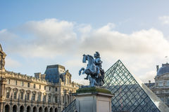 A central landmark of Paris. Part of Lourve Museum. The Louvre Museum is one of the world`s largest museums and a historic monument. A central landmark of Paris Royalty Free Stock Photo