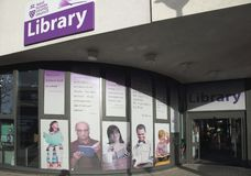 The central library in the town centre of crawley west sussex stock images