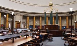 Central Library, Manchester UK. The Art Deco reading room in the Central Library, Manchester, England Royalty Free Stock Photos