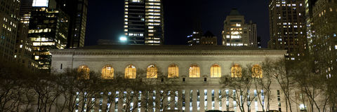Central library, New York City, at night Stock Images