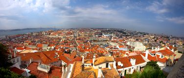 Central Lisbon. Bird view of central Lisbon with colorful houses and orange roofs Royalty Free Stock Photography