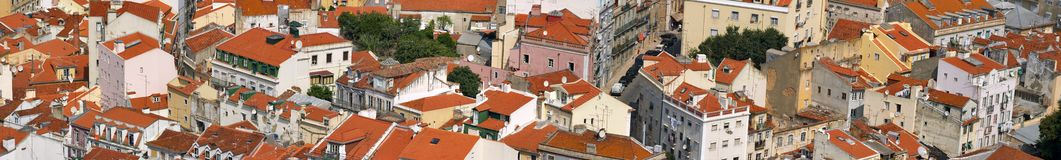 Central Lisbon. Bird view of central Lisbon with colorful houses and orange roofs Royalty Free Stock Photos