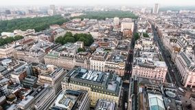 Central London Buildings Aerial View around St James`s and Piccadilly. Feat. St James`s Park and Green Park in the Background with Apartment Roofs Birds Eye royalty free stock photo
