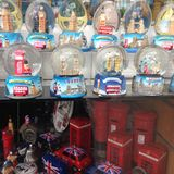 Central London Shop window full of snow globes Stock Images