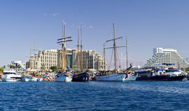 Central marina with pleasure boats and yachts in Eilat Stock Photography
