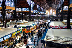 Central Market Hall. BUDAPEST, HUNGARY - JANUARY 2: Central Market Hall on JANUARY 2, 2014. People visit and go shopping in the Central Market Hall in Budapest Royalty Free Stock Photography
