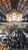 Central Market Hall - Budapest. BUDAPEST, HUNGARY, MARCH 25, 2017 - Central Market Hall, the biggest and oldest market in Budapest Stock Photo