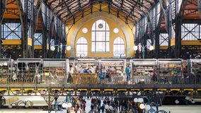 Central Market Hall - Budapest. BUDAPEST, HUNGARY, MARCH 25, 2017 - Central Market Hall, the biggest and oldest market in Budapest, people shopping in the Royalty Free Stock Photography
