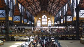 Central Market Hall - Budapest. BUDAPEST, HUNGARY, MARCH 25, 2017 - Central Market Hall, the biggest and oldest market in Budapest, people shopping in the Stock Photography