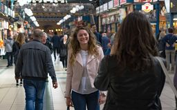 Central Market Hall - Budapest. BUDAPEST, HUNGARY, MARCH 25, 2017 - Central Market Hall - People shopping in the biggest market in Hungary. Place to buy Stock Photography
