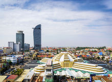 Central market landmark view in phnom penh city cambodia. Central market landmark and skyscrapers view in phnom penh city cambodia Stock Photography