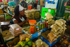 Central market in Maputo, Mozambique. Food products for sale in Central Market, Maputo, Mozambique. February 2017 Stock Photo