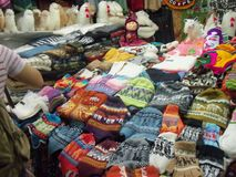 Central Market of San Pedro, Cusco, full of colorful, woven, and beautiful details. stock photo