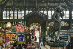 Central Market, Santiango de Chile. SANTIAGO DE CHILE, CHILE, MAY - 2018 - Interior view of mercado central; a famous food and drink traditional market of stock photo