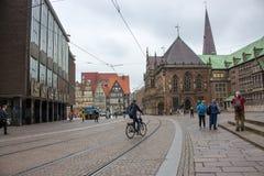 Central market square of Bremen. European city landmark. Summer travel concept. Bremen, Germany - 06/13/2019: central market square of Bremen. European city stock images