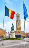 Central market square in Bruges Belgium Belfort Royalty Free Stock Photography